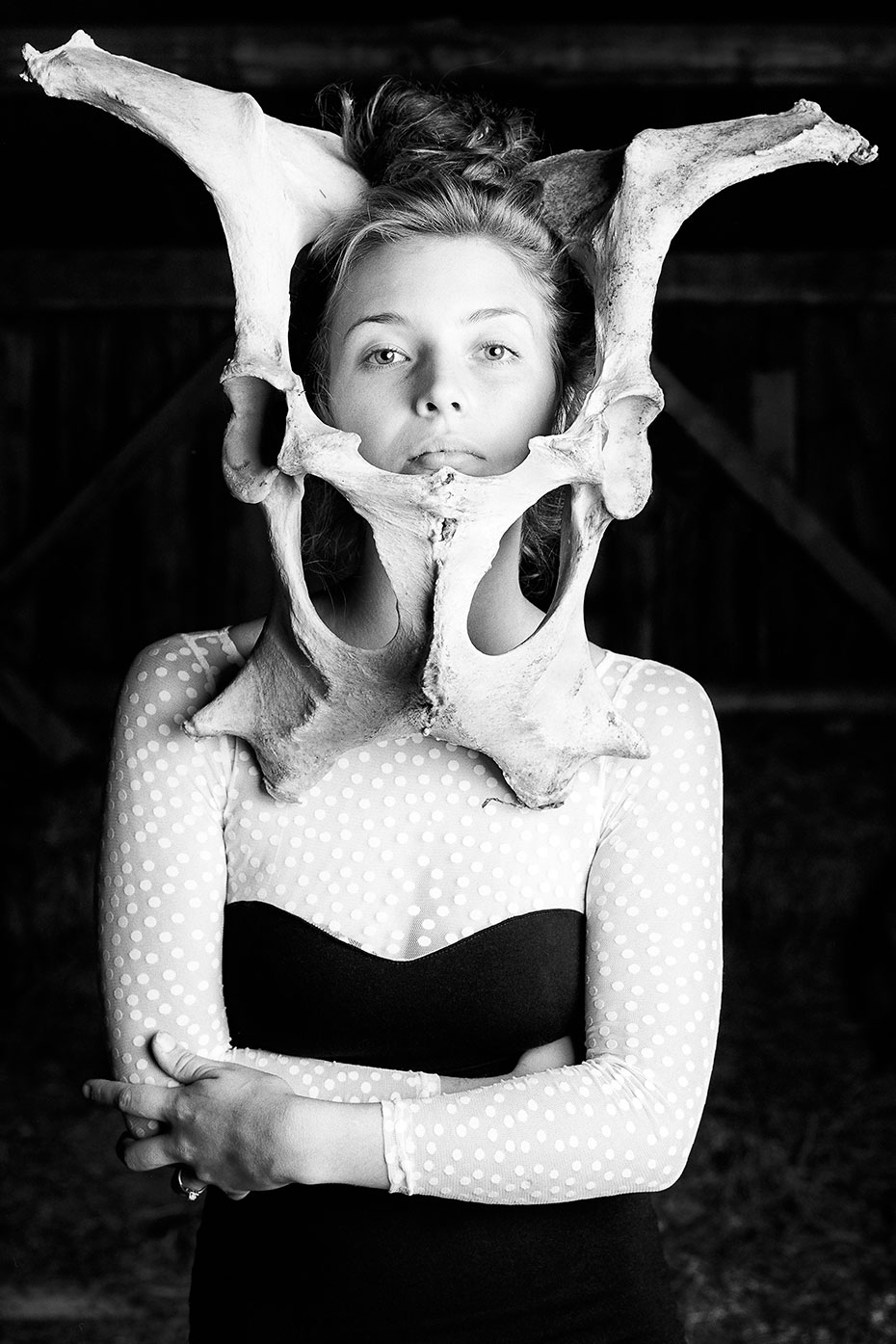 Brianna Fern with cow bone headpiece photographed by David Murcko