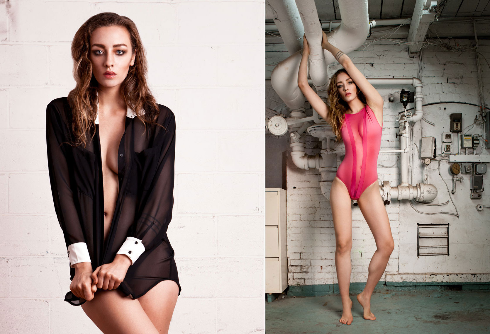 Hanna wearing black silk shirt and pink lace bodysuit from American Apparel photographed by David Murcko.